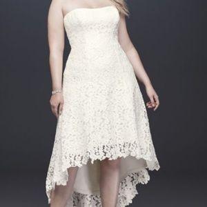 High-Low Tea-Length Lace Plus Size Wedding Dress
